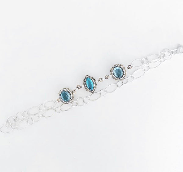 Heather Matjasic Ohm jewelry shop turkey blue topaz rhinestone sterling silver bracelet naples florida