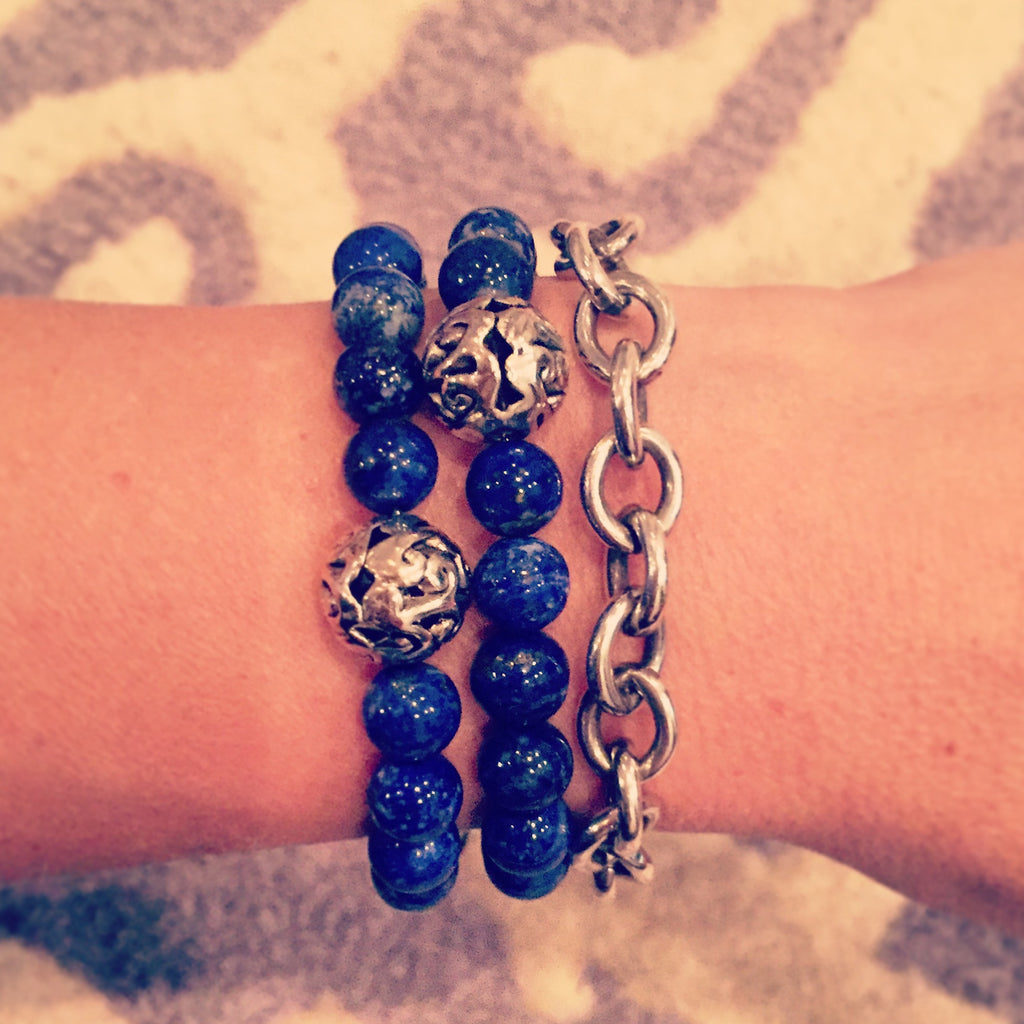 Lapis Lazuli & Bali Bead Intention Bracelet - O.H.M. Jewelry by Heather Matjasic