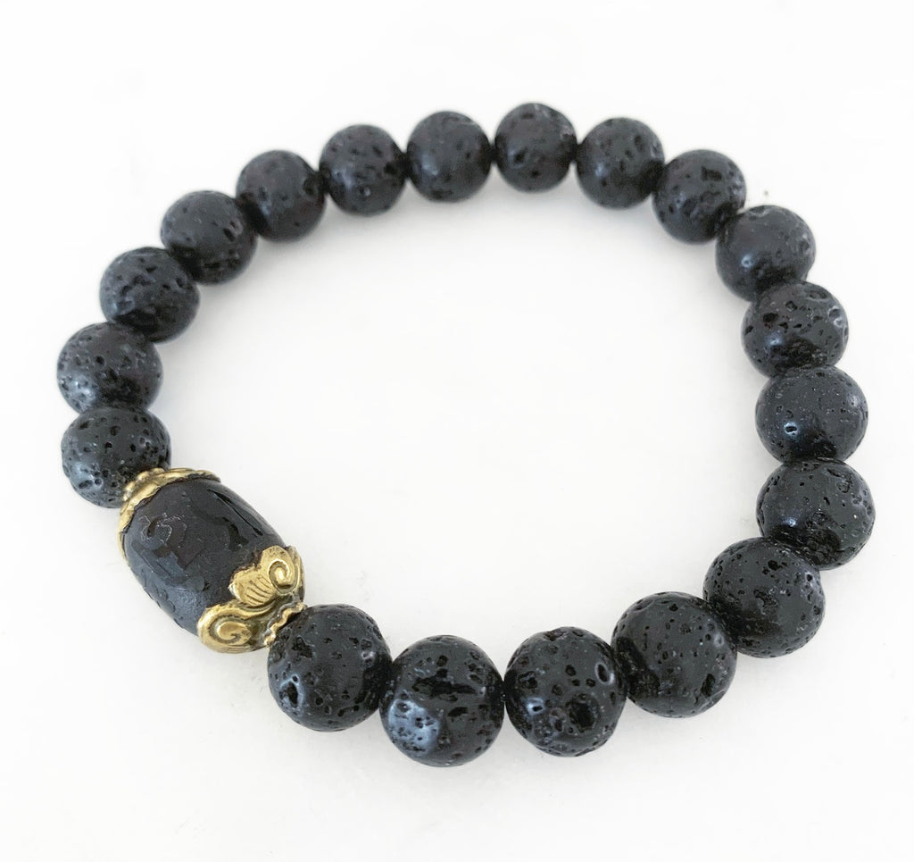 Men's Lava Rock & Oriental Gold Bead Bracelet
