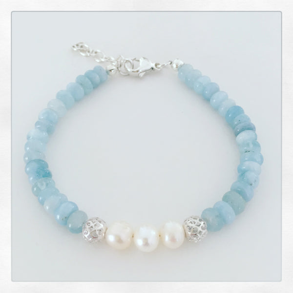 Aquamarine & Pearl Sterling Silver Bracelet - O.H.M. Jewelry by Heather Matjasic