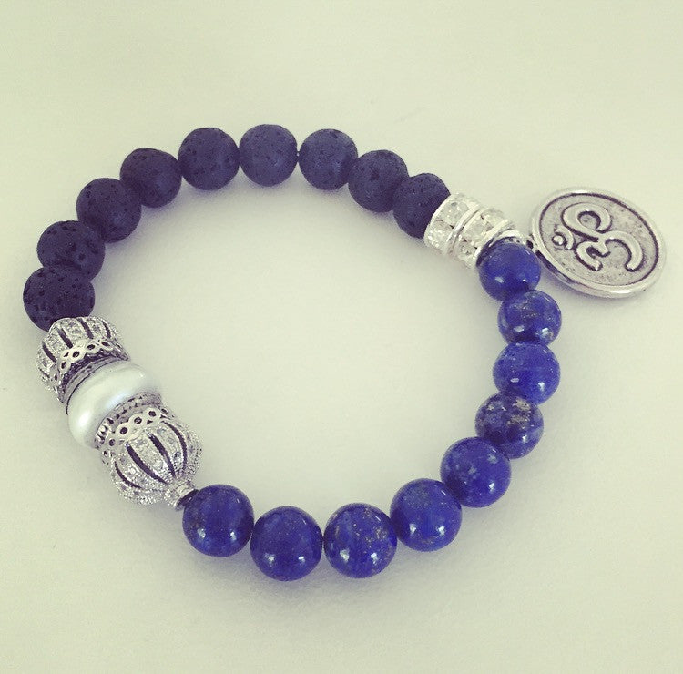 Lapis Lazuli, Lava Rock & Tibetan Pearl Ohm Bracelet - O.H.M. Jewelry by Heather Matjasic
