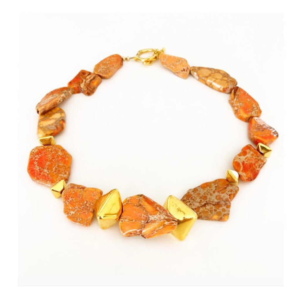 Heather Matjasic OHM Jewelry Shop Howlite Mykonos Greece Sahara Sunset Necklace Naples Florida