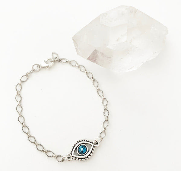 Crystal Evil Eye .925 SS Chain Bracelet