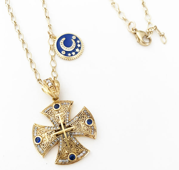 Canterbury Cross & Moon Necklace