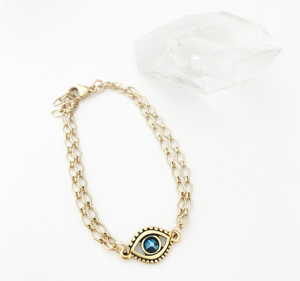 Crystal Evil Eye Gold Bracelet
