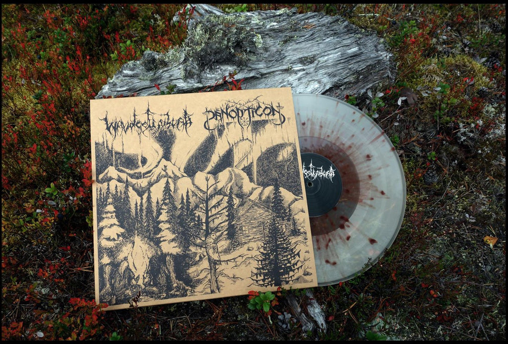 "Waldgefluster/Panopticon - Split 12"" Clear w/ Brown Splatter"