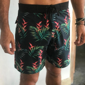Ash Grunwald - Recycled water bottle boardies. Bird of paradise