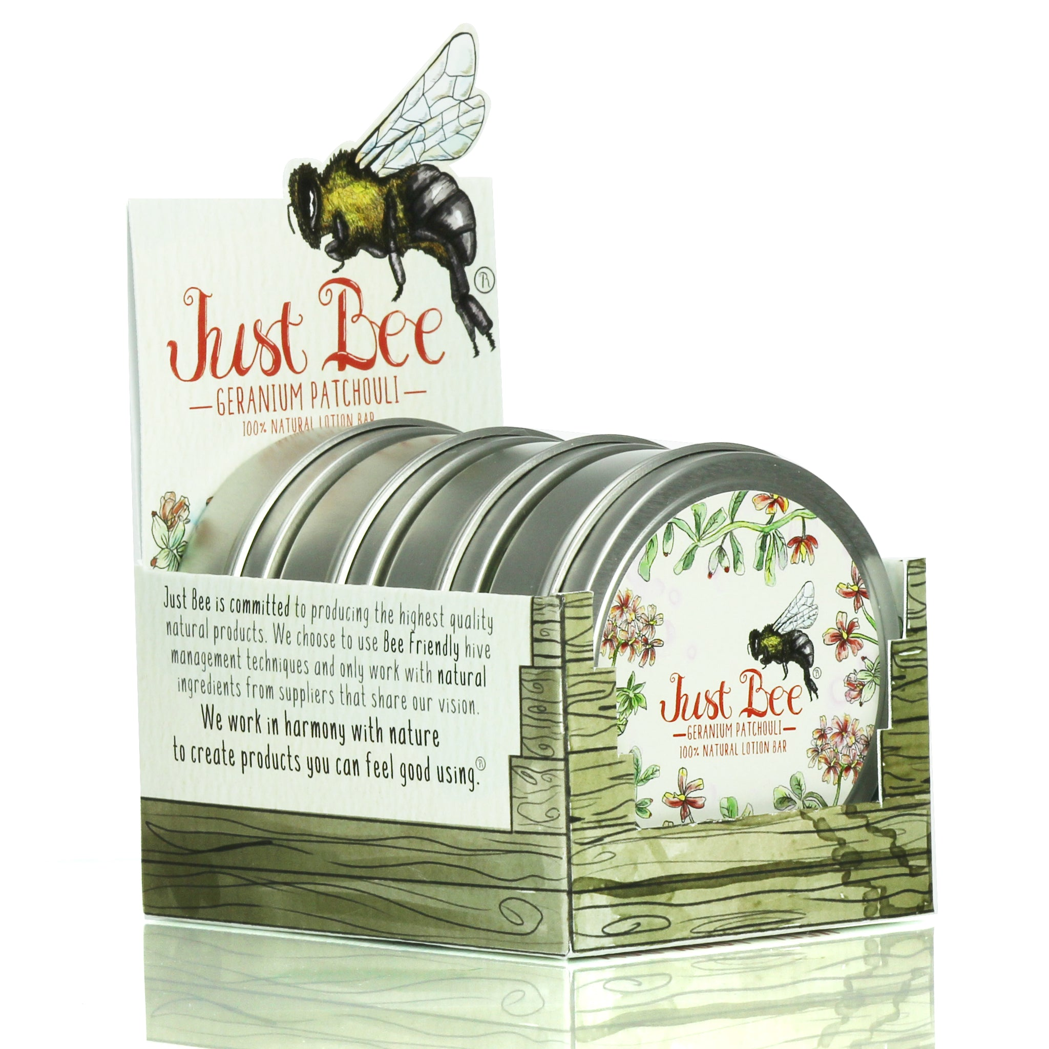 Just Bee Cosmetics - Lotion Bar - Patchouli Geranium Box
