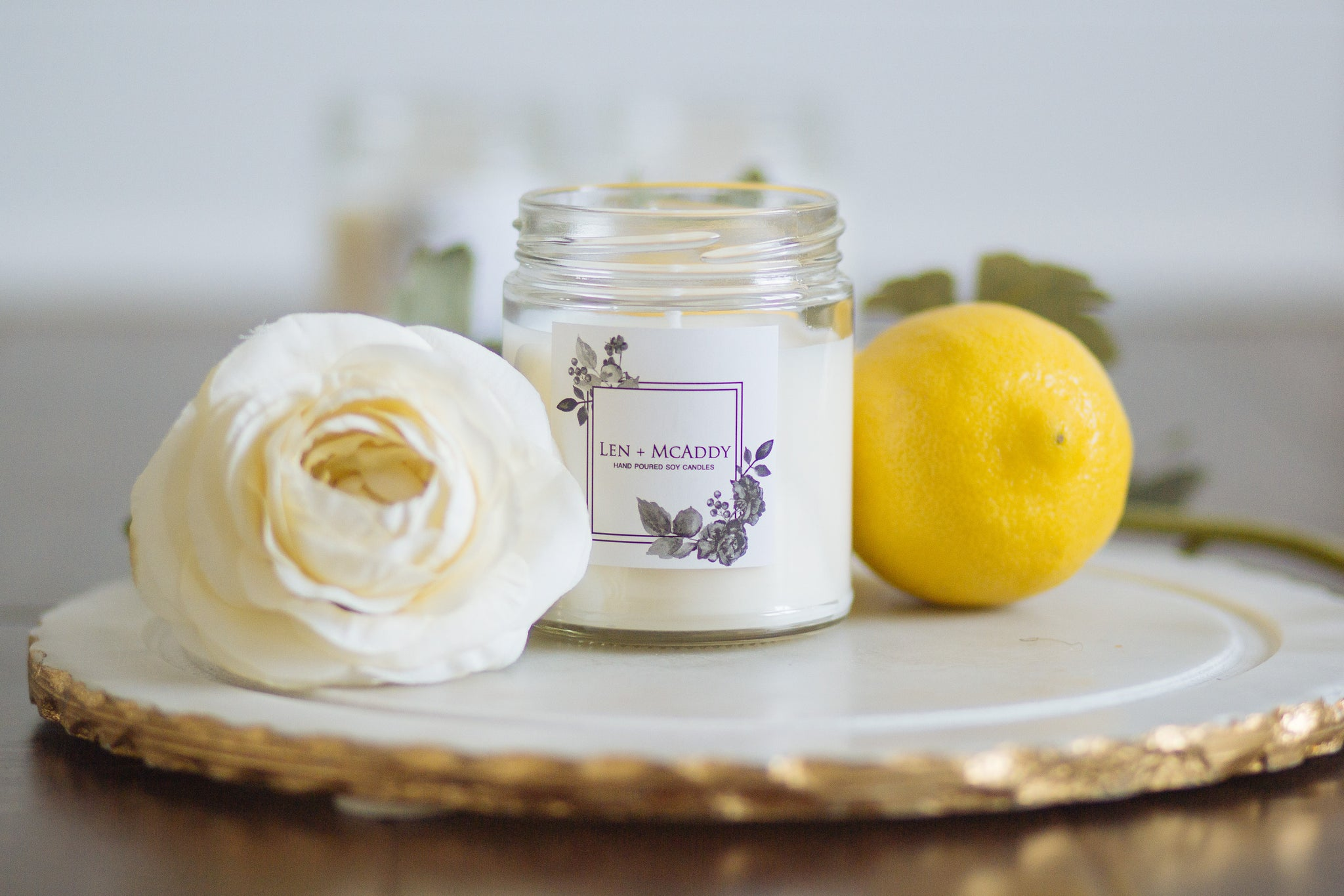 Len + McAddy Candles  - Bergamot And Lime Soy Wax Candle