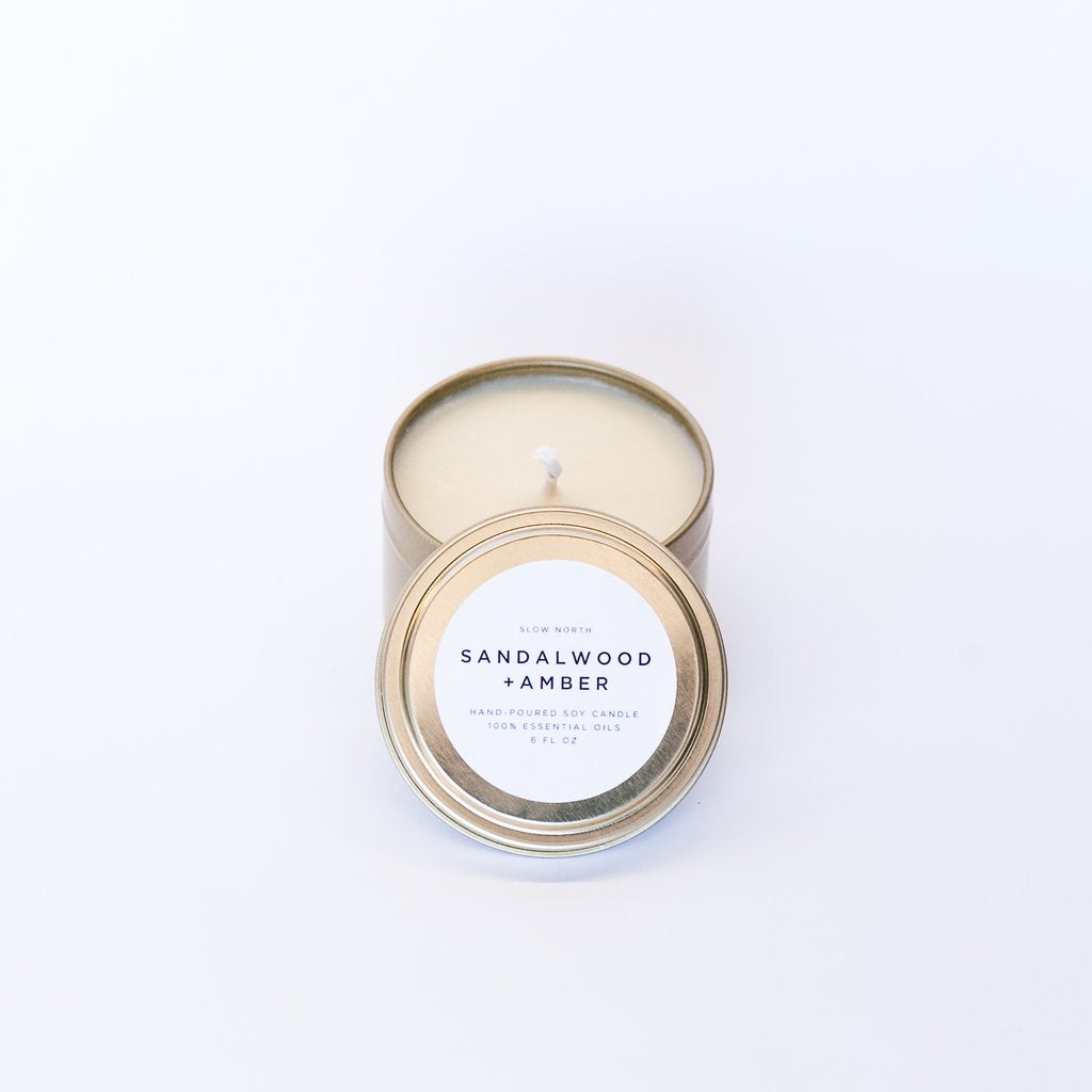 Slow North - Travel Tin Candles | Sandalwood + Amber (6 Oz)