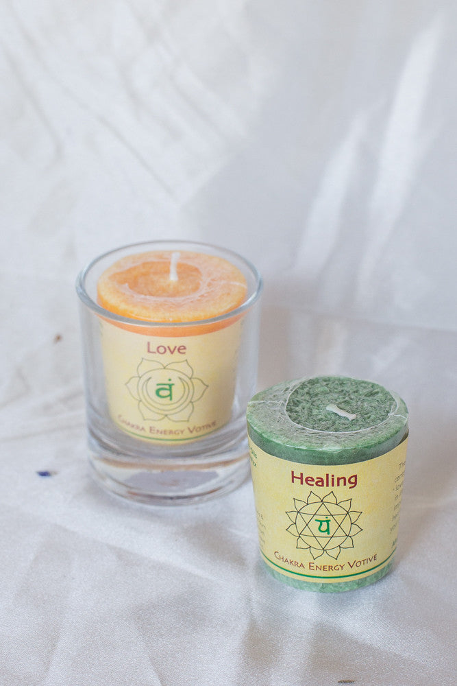 Chakra Votive Candles & glass holders