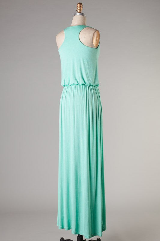52bf6dce530 Keeping It Simple Maxi Dress-Turquoise