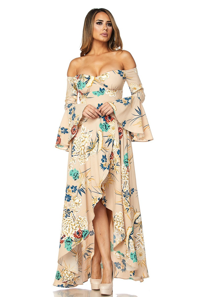 f33a6462805b FLORAL OFF THE SHOULDER MAXI DRESS-TAUPE