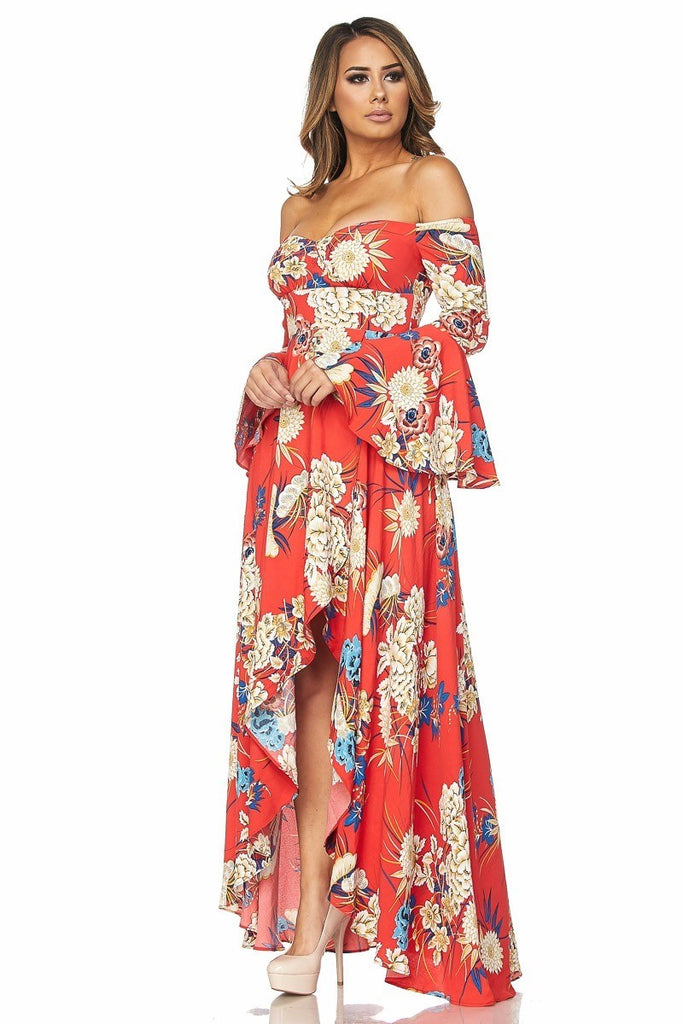 52d52ff4a6 Floral Off The Shoulder Maxi Dress-Red | laposhstyle