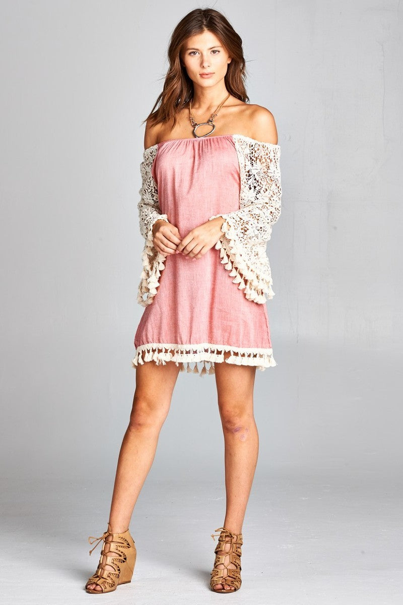 Marbella Off The Shoulder Crochet Sleeves Dress Dusty Pink Laposhstyle