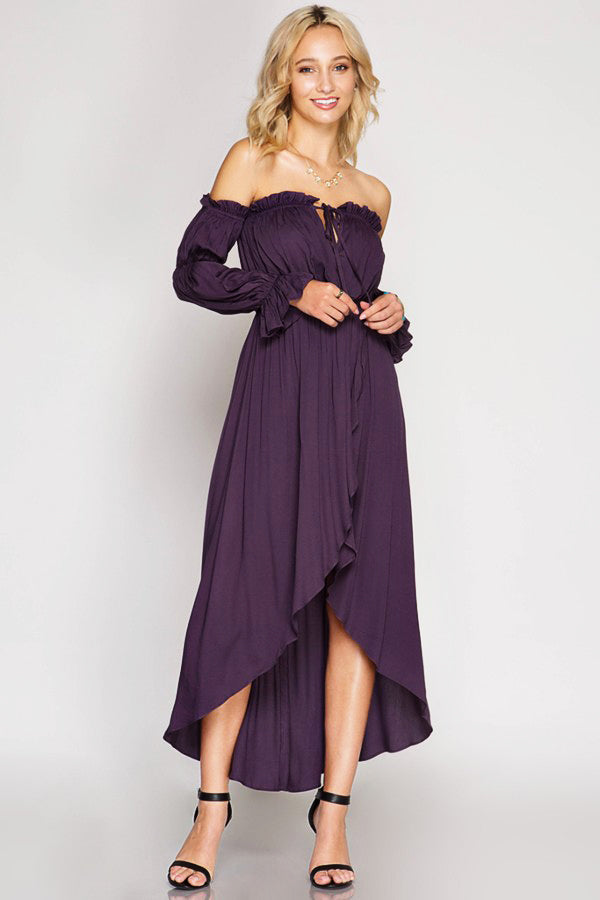 d272192d96de Long Sleeve Off Shoulder Maxi Dress-Dusty Purple