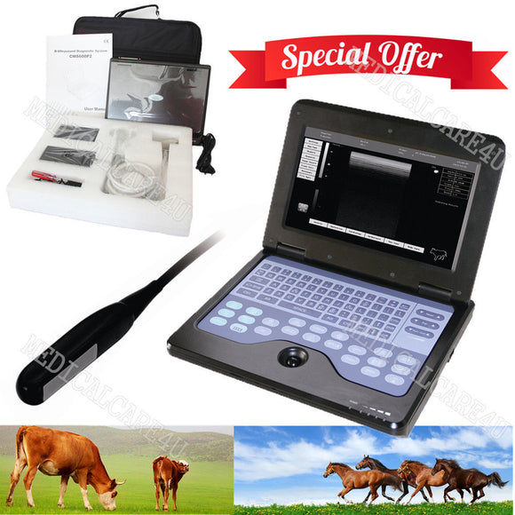 Laptop Machine Veterinary Ultrasound Scanner 7.5Mhz Rectal Probe Horse/Cow/Sheep 658126923446