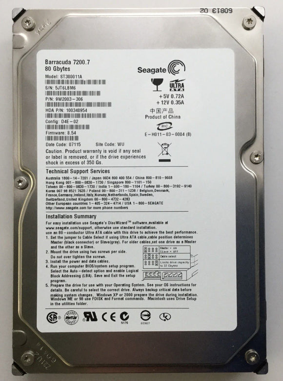 Siemens Sonoline Antares Ultrasound Seagate ST380011A Barracuda Hard Drive 80GB