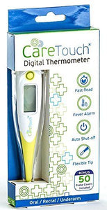 Care Touch Digital Thermometer with 50 Probe Covers Oral Rectal and Underarm ...