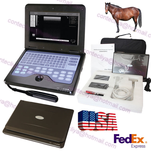 Portable Veterinary Ultrasound Scanner Machine For cow/horse/Animal rectal probe 756040906177