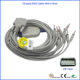 Edan SE-12 Express, SE-3, 601A EKG Cable AHA, Banana4.0 with 10K ohm DB15pin