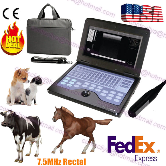 Veterinary Laptop UltraSound Scanner Machine 7.5M rectal probe horse/equine/cow 658126923446