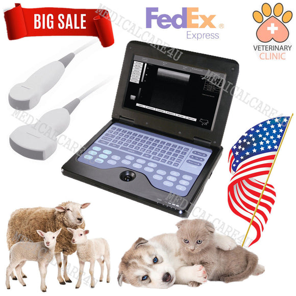 US Seller Veterinary Ultrasound Scanner Laptop Machine 2 Probes Small Animals,CE 658126923446