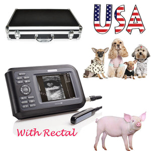 US Veterinary VET Animal Ultrasound Scanner Handheld Monitor + Rectal Probe Case 190891653277