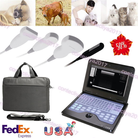 US VET 3 Probe Veterinary Portable Laptop Ultrasoud Scanner Rectal+Linear+Convex 658126923446