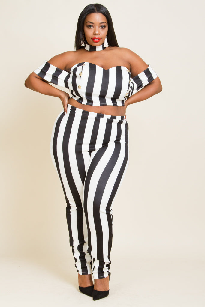 Plus Size Striped Choker Cropped Pant Set