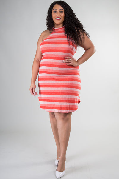 Stripe Mock Neck Shift Dress