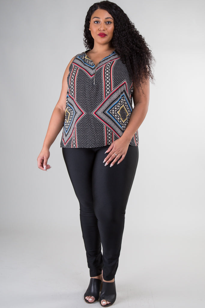 Plus Size Diamond Print V-neck Blouse
