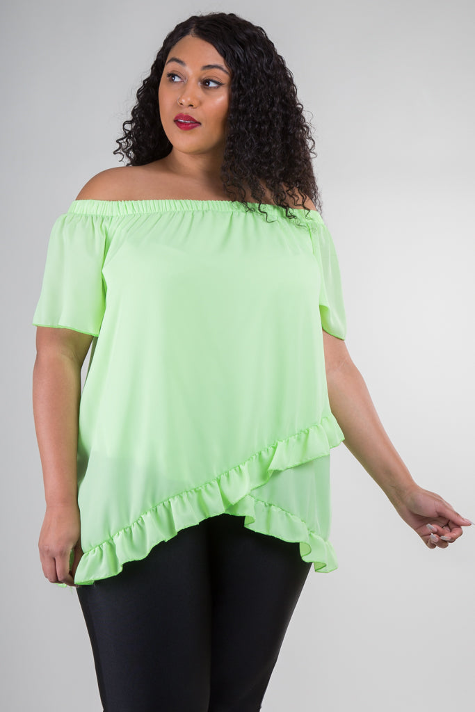 Plus Size Short Sleeve Off Shoulder Top