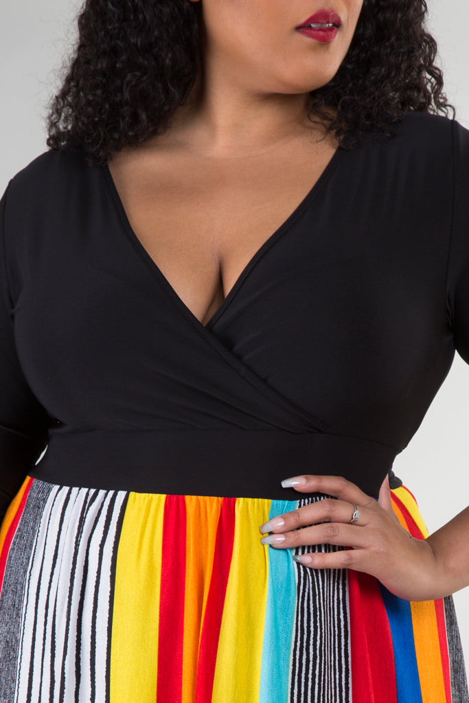 Plus Size Wrap Stripe Maxi Dress