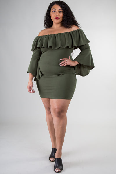 Plus Size Off Shoulder Dress with Bell Sleeves