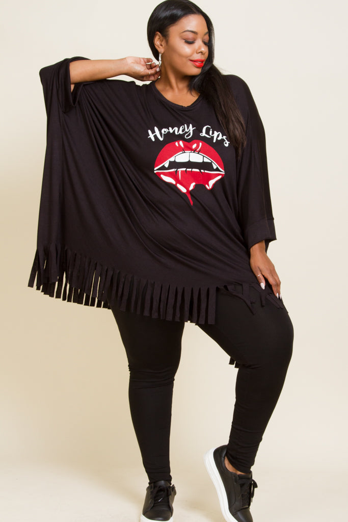 Plus Size Bottom Fringe Honey Lip Print T Shirt