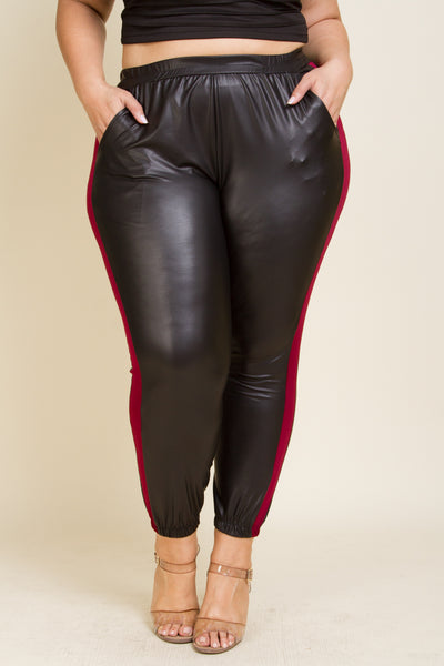 Plus Size Faux Leather Joggers