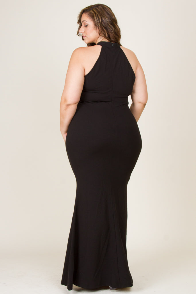 Plus Size Sexy Choker Maxi Dress