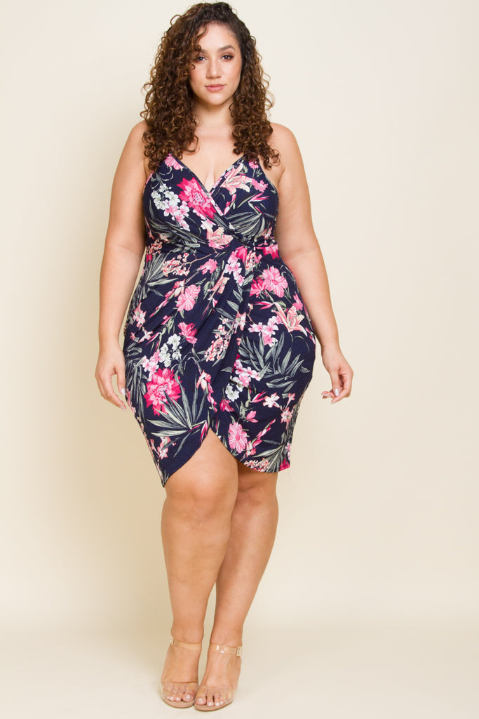 Plus Size Knit Bugari Print Spaghetti Dress