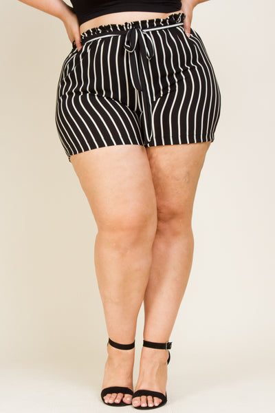 Plus Size Strip Shorts With Tie Belt