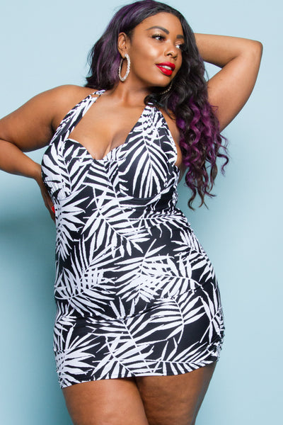 Plus Size Palm Leaf Dress Swim Suit
