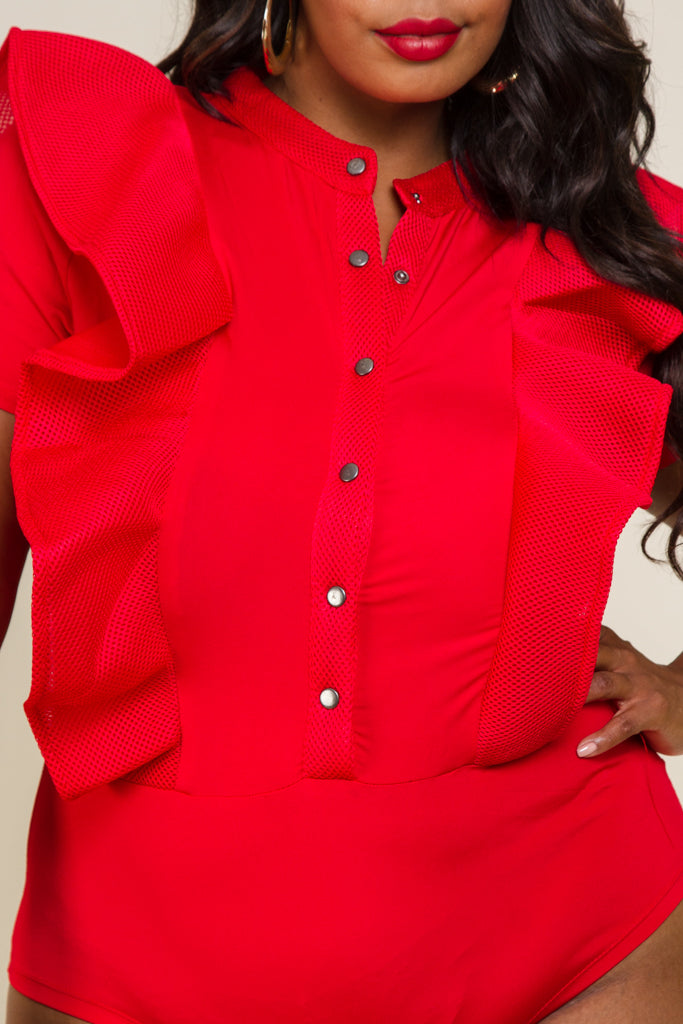 Plus Size Button Up Ruffle Detail Bodysuit