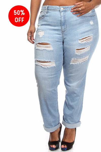 Plus Size Light Wash Distressed Jeans