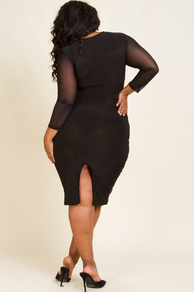 **FINAL SALE**   Plus Size Front Cut Out Sequin Dress
