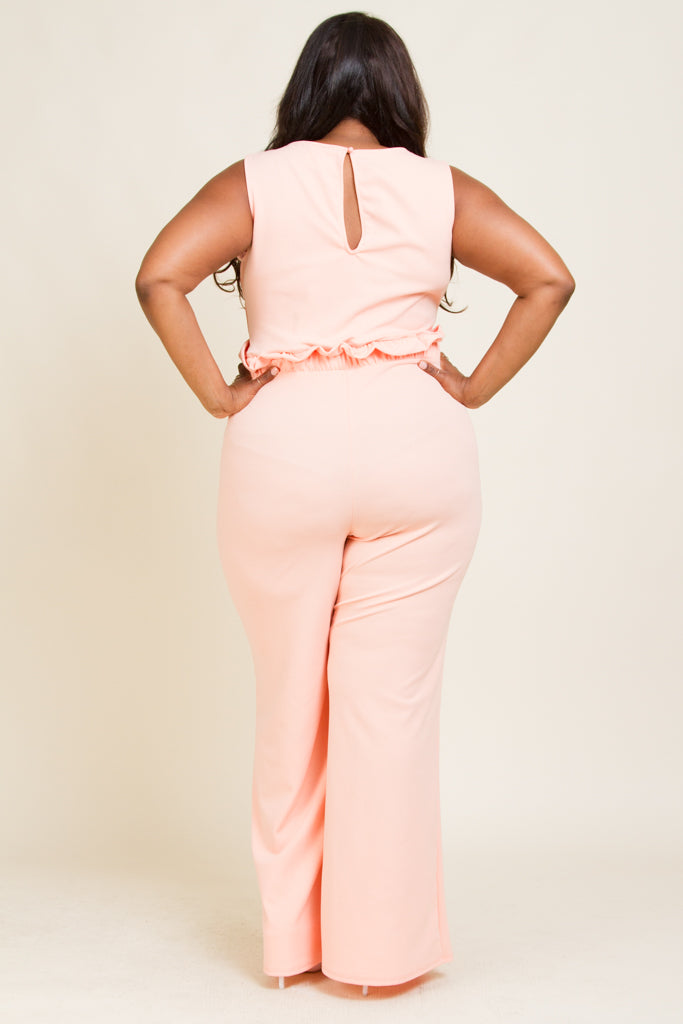 **FINAL SALE** Plus Size Very Deep V-Neck JumpSuit