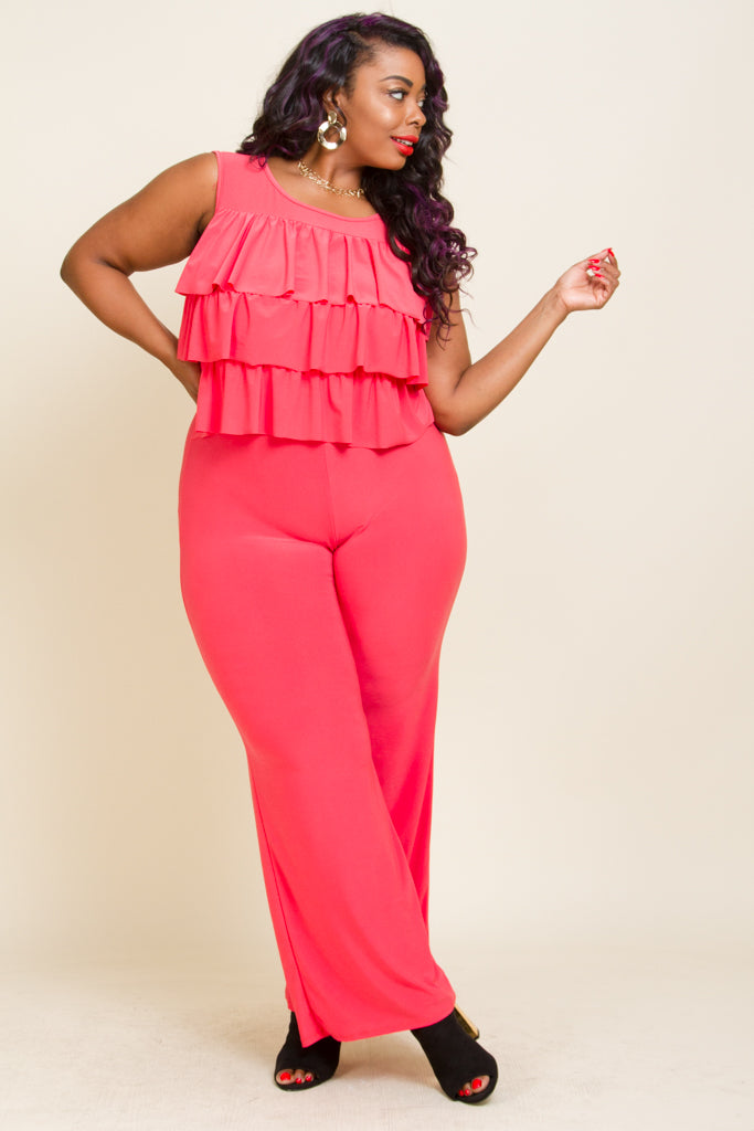 Plus Size Ruffle Straight Leg Jumpsuits