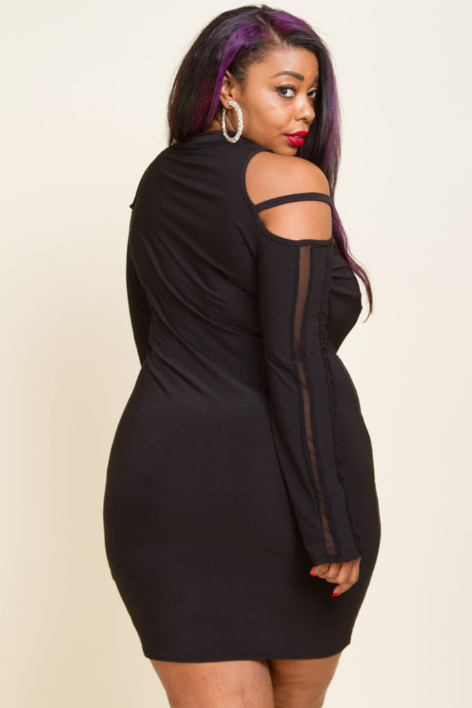 Plus Size Cold Shoulder Fitted Sexy Mini Dress