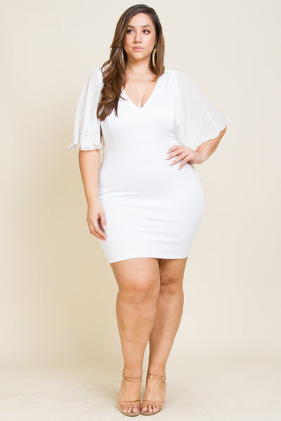 Plus size fitted ruffle sleeve dress