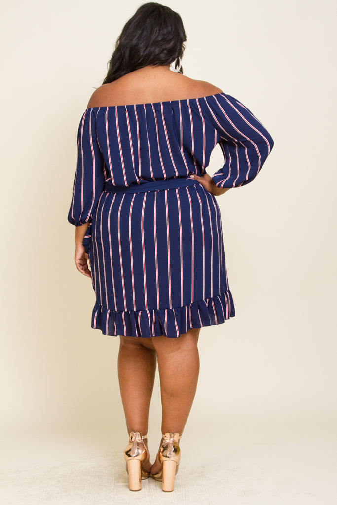 **FINAL SALE** Plus size cold shoulder midi dress