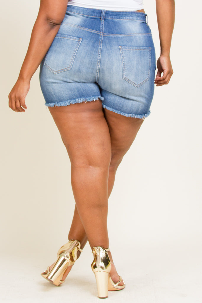 Plus Size Frayed Hand Sanding Whisker Shorts